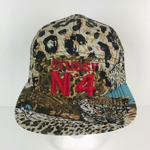 Stussy N4 Baseball Cap Capz Leopard Print 5 Panel